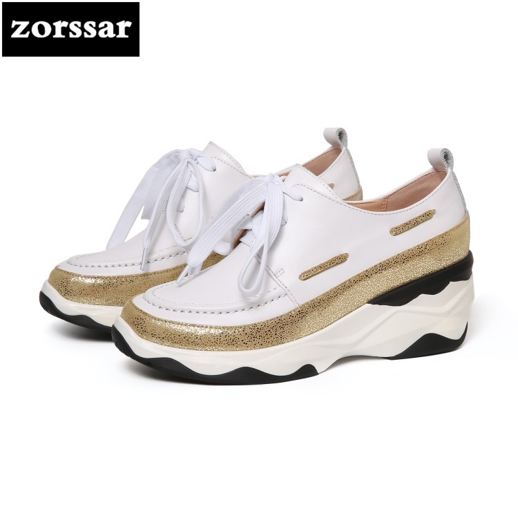 {Zorssar} Brands Genuine cow leather Womens sneakers Lace-up flats Casual shoes 2018 New Fashion women flat Outdoor walking shoe glowing sneakers usb charging shoes lights up colorful led kids luminous sneakers glowing sneakers black led shoes for boys