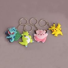 Hot Selling Diy Handmade Keyfob Pikachu Keychains Poket Masters 3D Mini Pokemon Llaveros Chaveiro Cute Cartoon Baby Love Bag(China)