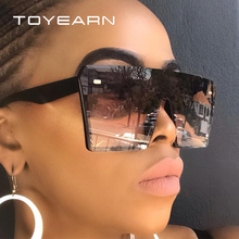 TOYEARN Vintage Square Rimless Sunglasses Women 2019 New Fashion Flat Top Integrated Gradient Oversize Sun Glasses Men UV400