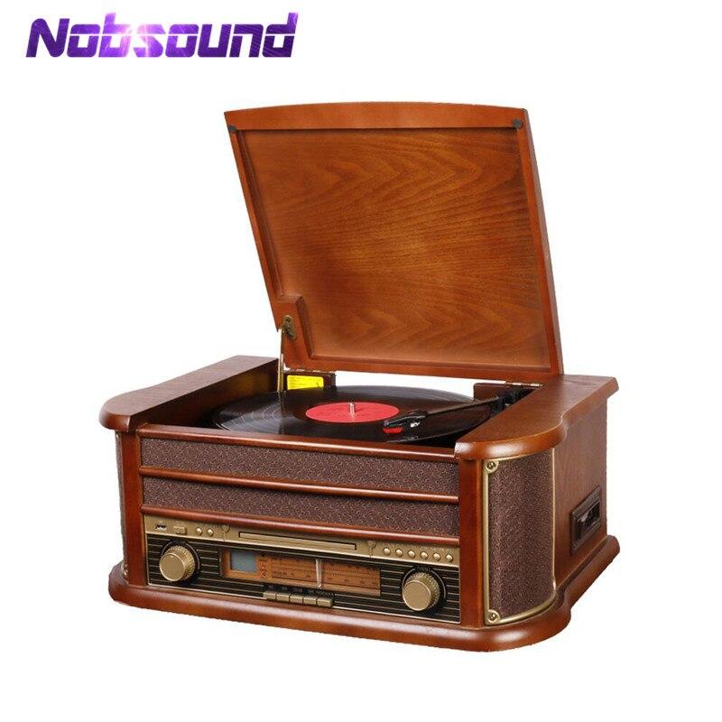Nobsound platine vinyle stéréo haut de gamme LP lecteur de disque bande & CD & u-disk & AM/FM Radio & AUX & USB Audio 220V