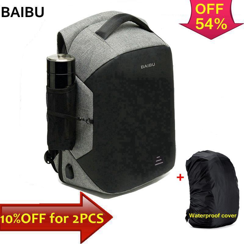 BAIBU mochila masculina multi função, mochila de laptop 15.6 anti roubo com carregador USB, mochila de viagem grande de negócios a prova de água feminina