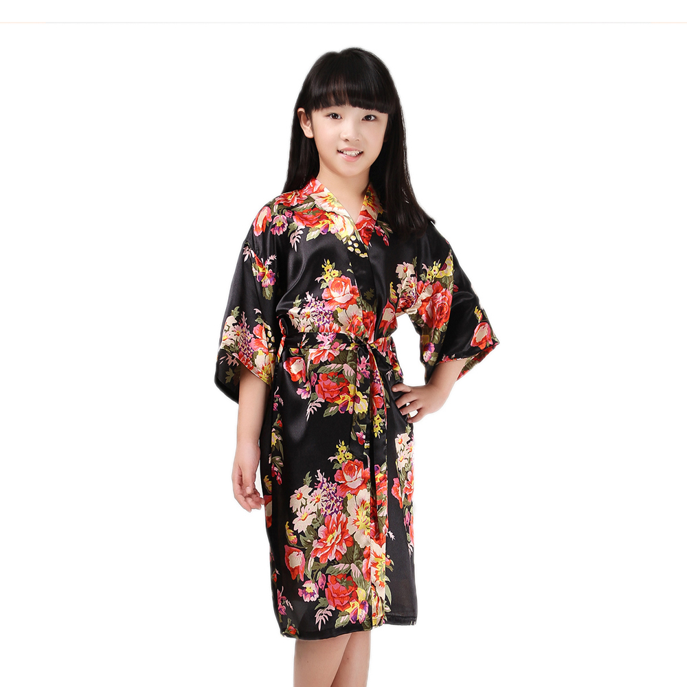Kimono Wedding Gown: Girls Stain Kimono Flower Robe For Spa Wedding Dressing