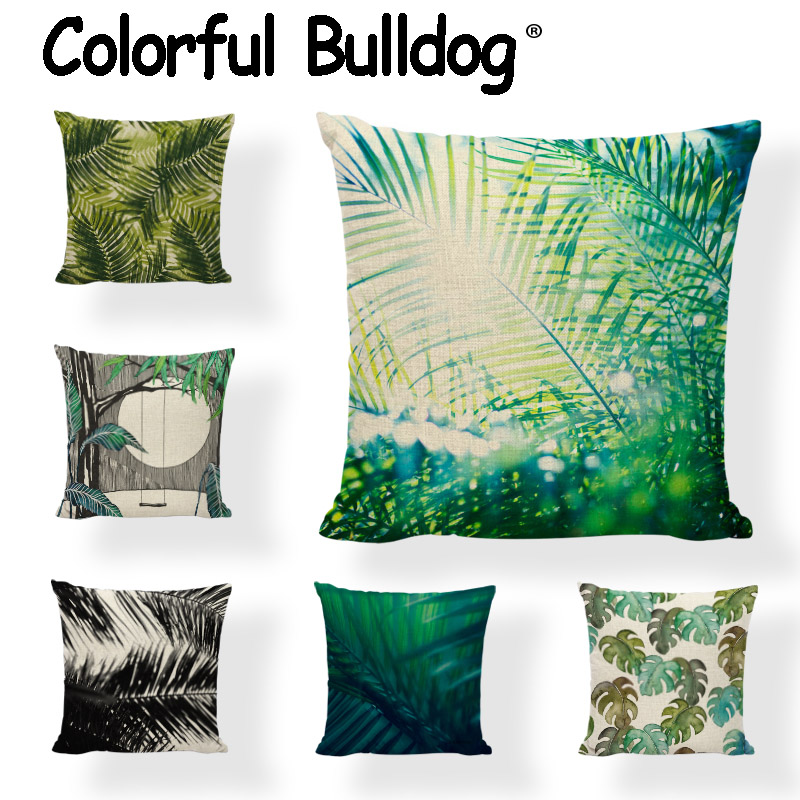 Monstera Cushion Cover Rainforest Plant Green Palm Coconut Tree Gift Home Decor Bench Seat Living Room Spring Throw Pillows Case