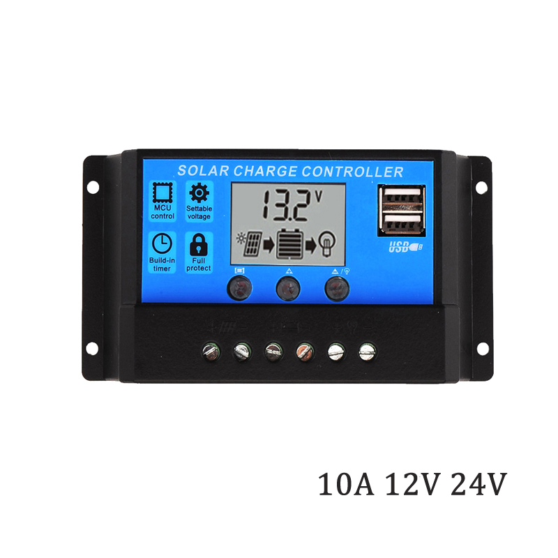 10A 12V 24V Auto work PWM Solar Charge Controller with LCD Dual USB 5V Output Solar Cell Panel 100W 200W Charger Regulator PV Ho10A 12V 24V Auto work PWM Solar Charge Controller with LCD Dual USB 5V Output Solar Cell Panel 100W 200W Charger Regulator PV Ho