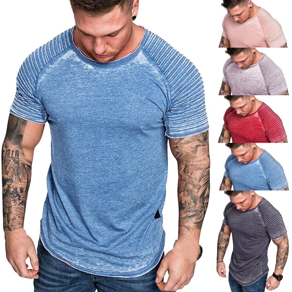 T     Shirt   Men's Summer Pleats Slim Fit Raglan Short Sleeve Pattern Top Light Color Clothing Fathers Day Fitness Gyms Tee M-3XL