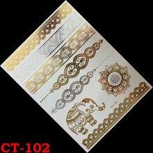 Temporary tattoo gold tattoo sex products Elephant bracelet tatoo metal women flash metalic gold silver tattoos