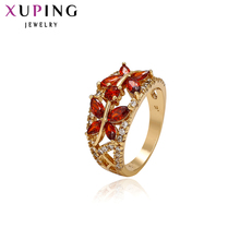11.11 Xuping Fashion Ring Hot Sale Luxury Famous Brand Rings Gold Color Plated Synthetic CZ Christmas Jewelry Promotion 11206