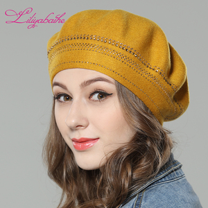 Image 2 - Nuevo gorro de lana de punto para mujer Liliyabaihe, gorros con decoración de diamantes circundantes, sombrero de Color sólido a la moda