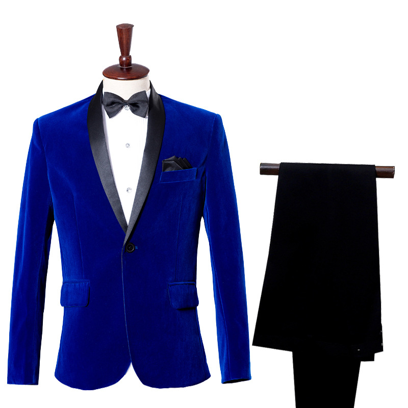 Men's Casual Dress Suit Groom's Business Dress Wine Flannel Treasure Blue Single Breasted Smart Casual Mens Suits With Pants