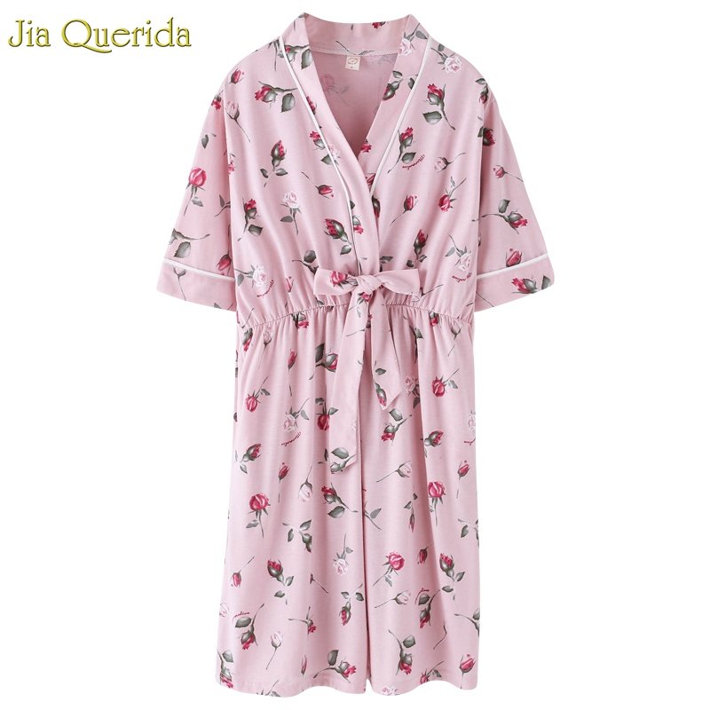 Womens Lingerie   Nightgown   Pink Rose Printing Cotton Japanese Kimono Style Sleeping Dressing Gown Kawaii Bow Belted   Sleepshirt