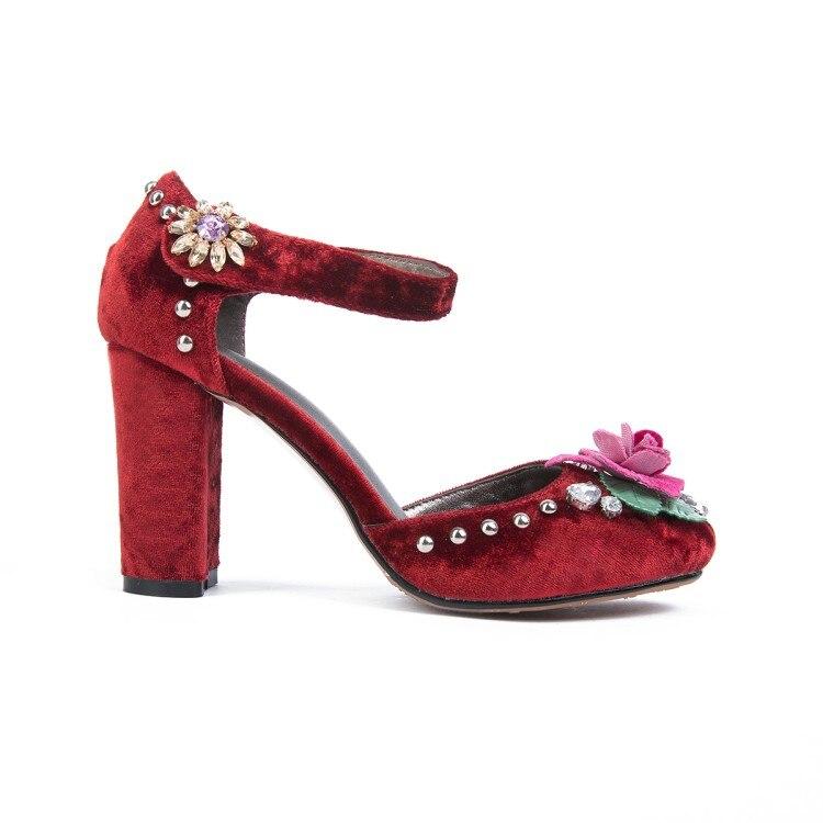 Cheville Chaussures 2018 Haute Sandales D'été Fleurs Noir Bride Sandalias Pompes Taille Nouvelle Mode Femmes 43 rouge Dames Grande bleu Talons La {zorssar} À P8k0XOnw
