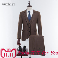 wuzhiyi Wool Brown Tweed Custom Made Men Prom   Suit     Blazers   Retro Tailor Made Slim Fit Wedding   Suits   For Men Groom Tuxedos