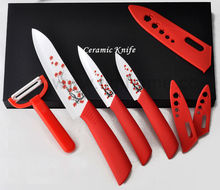 Beauty Gifts Zirconia kitchen Ceramic Fruit Knife Set Kit 3″ 4″ 6″ inch With Flower Printed+ Peeler+Covers+Free Shipping