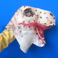 Free shipping Halloween Party Cosplay Rubber Vinyl Dinosaur Mask Toy Hand Glove Mask Animal Lion Tiger Dog Cow Hand Mask Funny