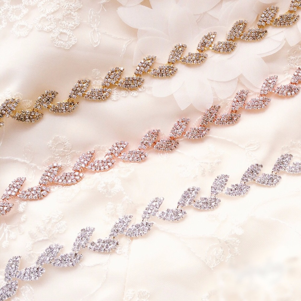 Silver/Gold/Rose Gold Crystal Rhinestone Trim Chain By The Yard For DIY Handmade Waist Belt Jewelry Necklace