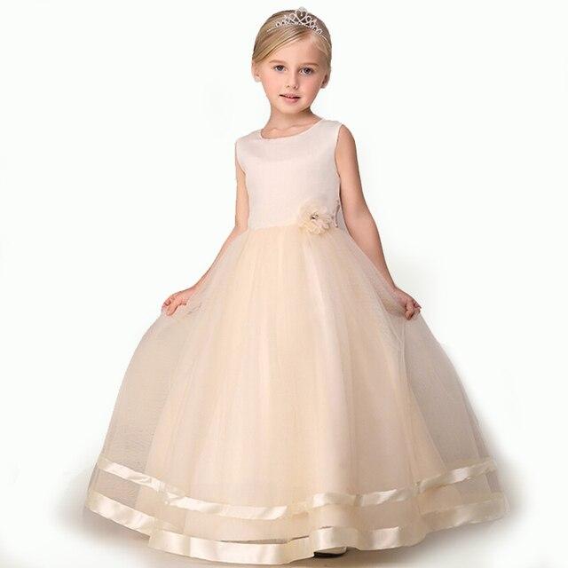 8c8fc3a55d 2017 długa suknia szampana kwiat dziewczyna sukienki koronka sukienka na  wesele party suknia balowa dla dzieci
