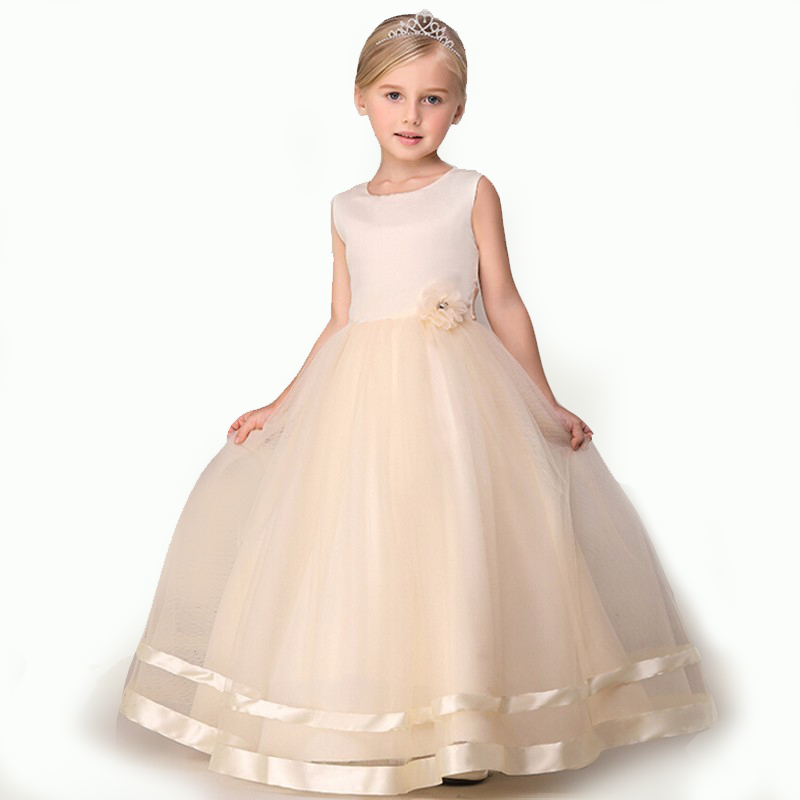 2017 long dress champagne flower girl dresses lace dress for Wedding party dresses 2017