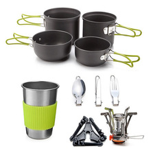 2-3 people outdoor cooker portable camping stove set pot tableware aluminum cookware