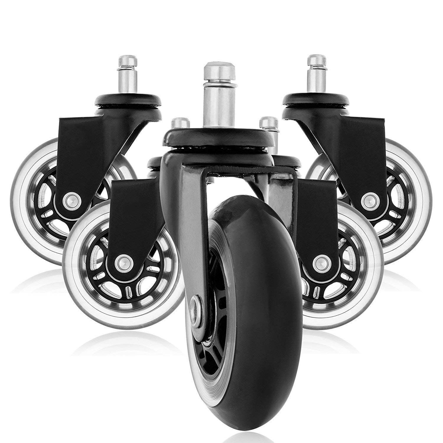 5PCS Universal Mute Wheel Replacement Office Chair Swivel Casters Furniture PU Smooth and Quiet Rollers Black 550 lbs Total 5pcs screw port universal mute wheel 2 replacement office chair swivel casters pu rollers black white castor 360 degree
