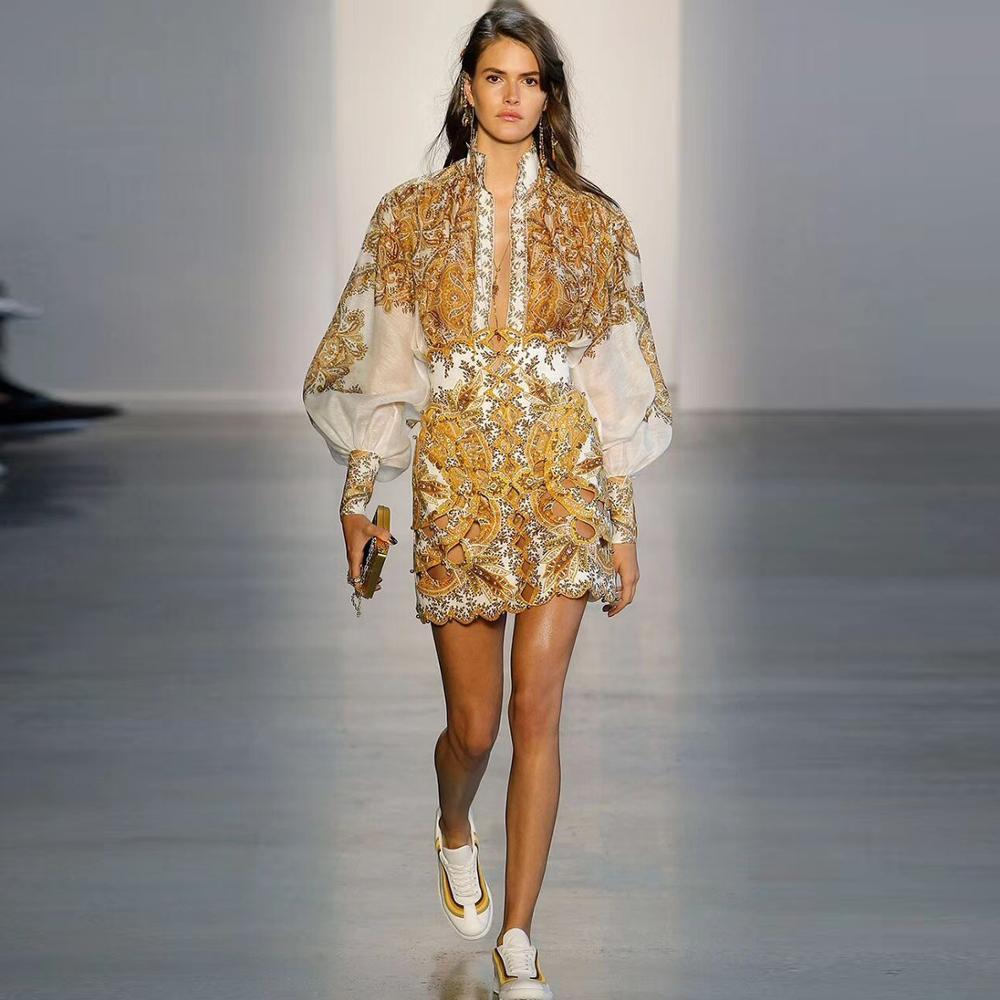 High end two piece set Silk linen blouse court gold printed shirt retro lantern sleeves long
