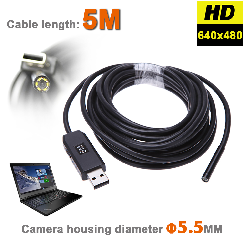 6 LEDs 5.5MM USB Endoscope Camera IP67 Waterproof Snake Inspection Borescope Video Tube Pipe USB MINI Camera With 5M Rigid Cable 5m 5 5mm lens rigid cable usb waterproof endoscope inspection mini camera ip67 snake tube with 6 led borescope for pc android