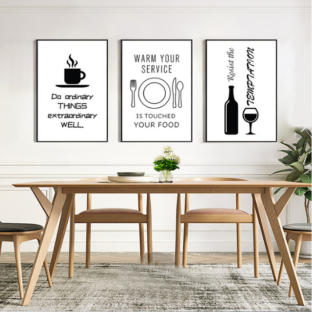 Minimalist Kitchen Canvas Painting Black and White Posters Prints ...