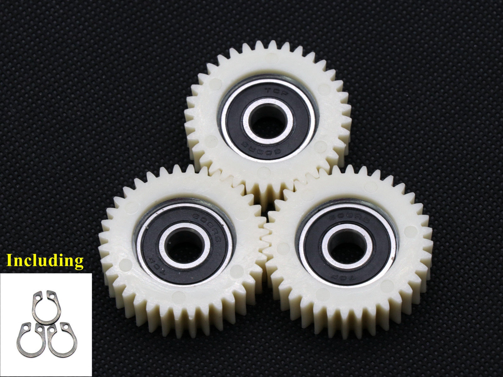 3pcs 38mm 36 Teeth Nylon 8mm Bore Hole 608 Z Ball Bearing Gears For Electrical Bike Motor Clutch Plastic Planetary Gear