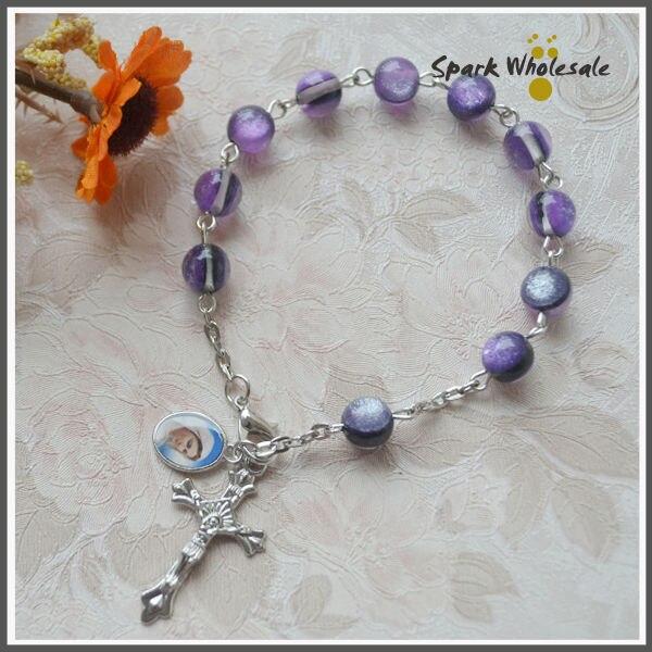 30pcs Lot Catholic Fancy 8mm Purple Resin Rosary Bracelet Baptism Favors Women S Saint Medal