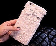 Дауэр меня Новые Симпатичные бантом Bling Полный diamond pearl чехол для iPhone 7 6 6 S Plus 4.7 5.5 дюймов 5 5S 5C 4 4S Бесплатная доставка