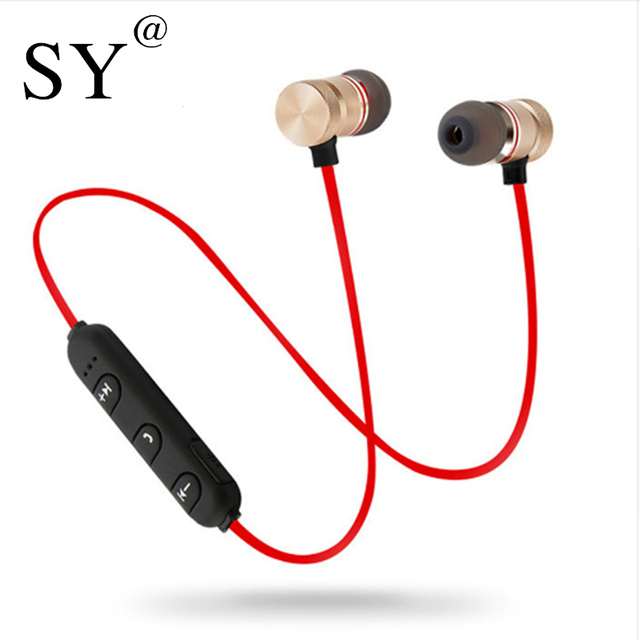 Wireless Earphone Bluetooth Headphones with MIC Metal Distressful Bass Magnet Sports Headset Alarms Cancelling Earbuds Earpiece Stereo.