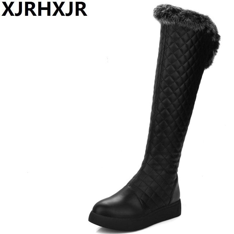 XJRHXJR Winter Rabbit Fur Warm Shoes Woman Fashion Knee-high Boots Female Flat Platform Long Boots Keep Warm Snow Boots White стоимость