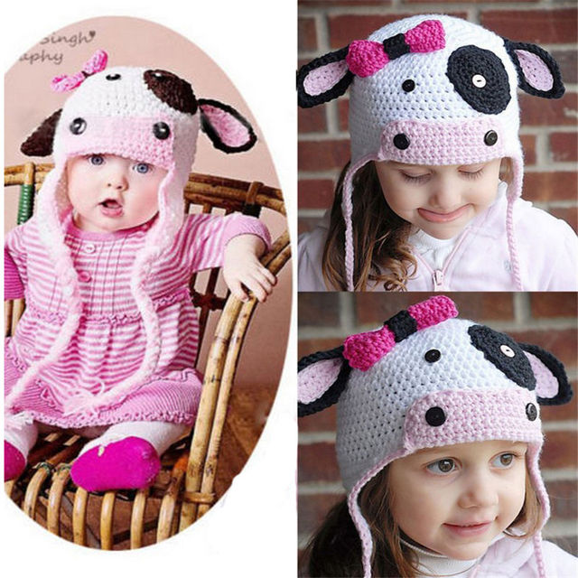 5d0d980660b Lovely Fancy Gift Newborn-12Months Cow Crochet Photo Props Hat Baby Girl  Boy Knitted Beanie Infant Earflap Handmade Soft Cap