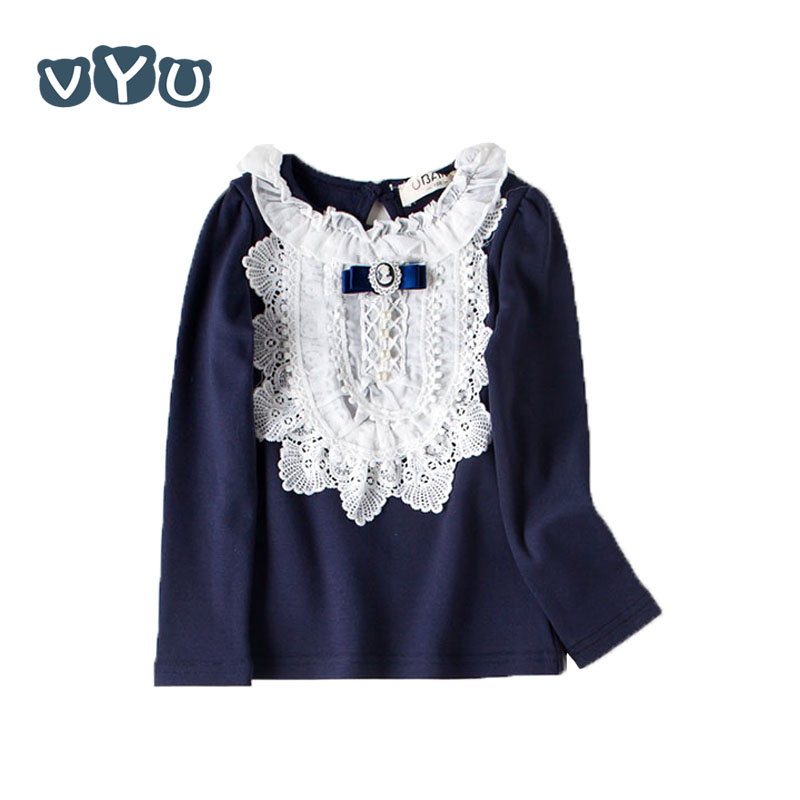 Autumn Sweet <font><b>Baby</b></font> Kids Girls Lace Pearl T <font><b>Shirt</b></font> Velvet Fashion Bow <font><b>Basic</b></font> Tops Princess Blouse For Children Girls Casual Clothes image