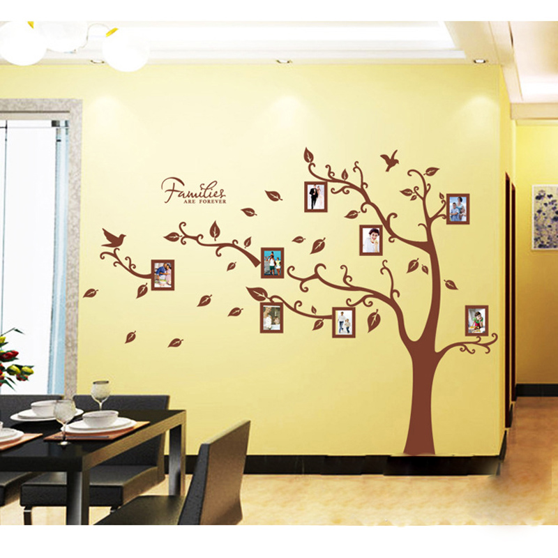 Large Size Brown Family Photo Frames Tree Wall Stickers, DIY Home ...