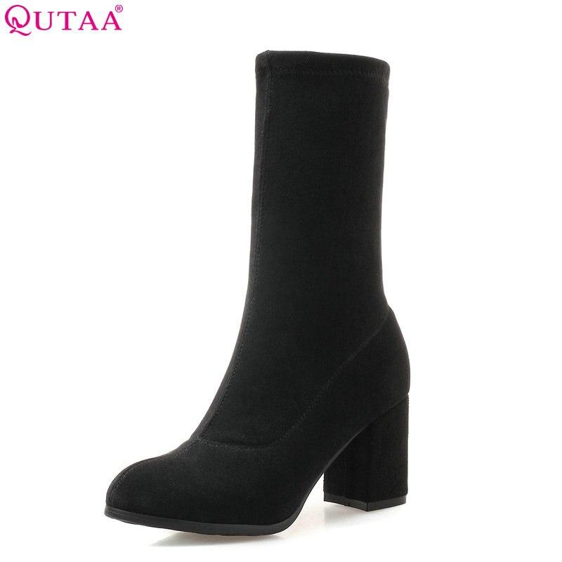 QUTAA 2019 Women Ankle Boots Fashion Women Shoes Platform Slip on All Match Winter Shoes Sock Boots Women Boots Big Size 34-43 цены