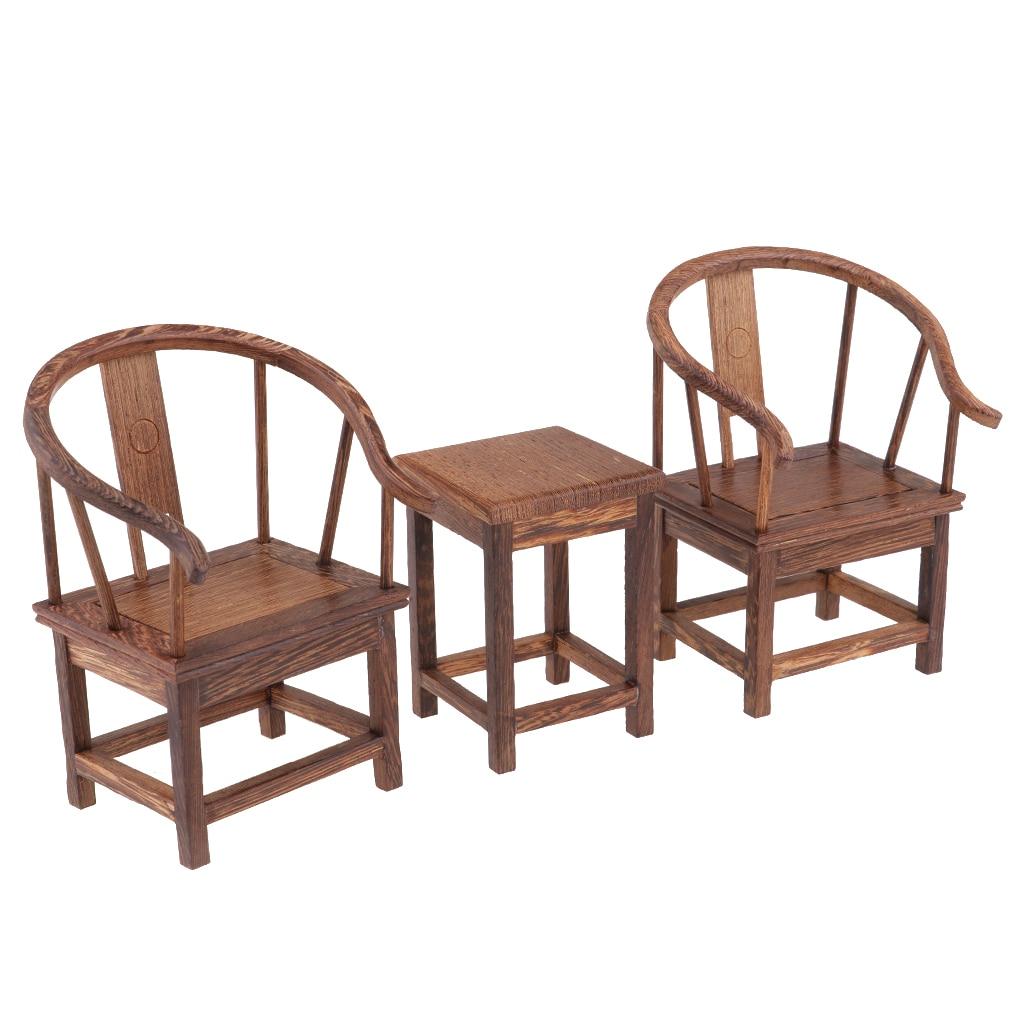 Dollhouse 1/6 Scale Miniatures Furniture Handmade End Table Tea Table With Armchair Set