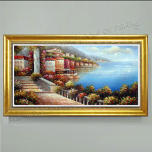 Hand Painted Large Canvas Paintings Wall Ar Home Decoration Sea Mediterranean Landscape Oil Painting Knife Painting (No Frame)