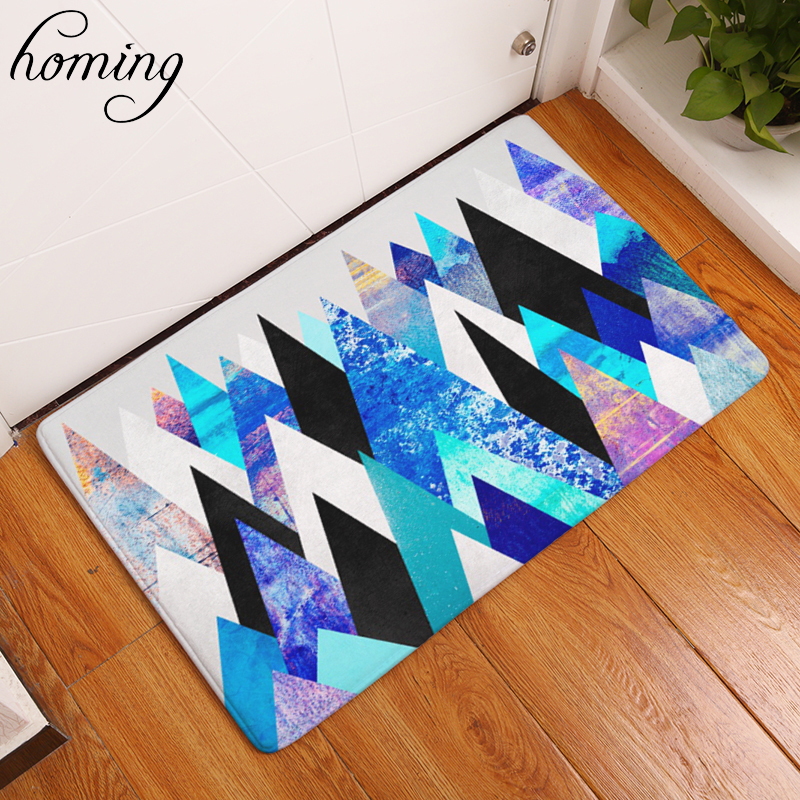 Homing Welcome Home Door Mats Outdoor Entrance Door Blue Black Color Mountain Pattern Carpets Dustproof Bedroom Bedside Foot Pad