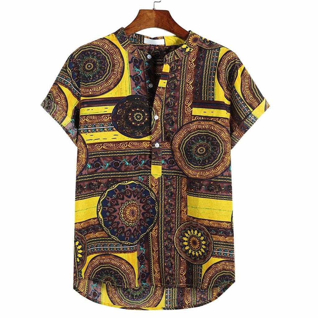 Camisas hawaianas camisas de lino para hombres camisas holgadas casuales de manga corta con botón en el pecho