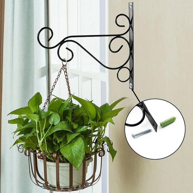 Metal Iron Wall Brackets Garden Hanging Plant Hooks Hangers Lantern Basket Pot Hook