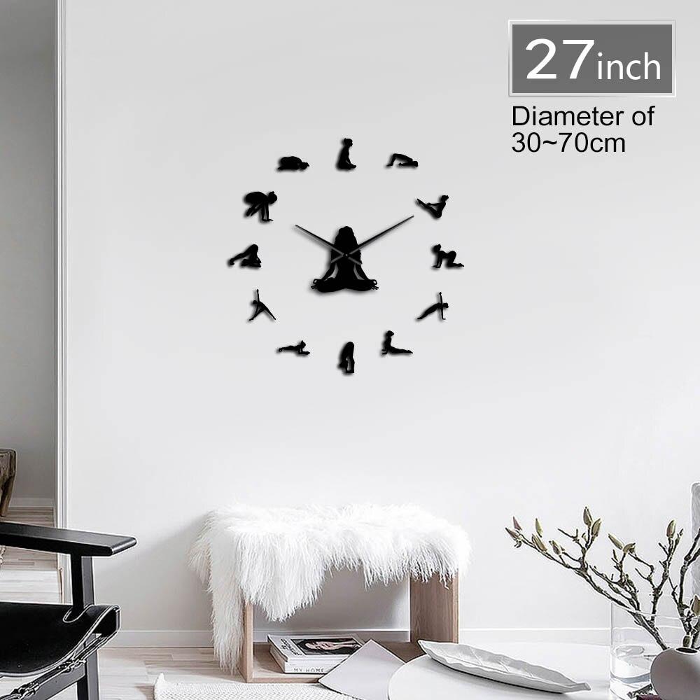 Yoga Girl Design DIY 3D Acrylic Wall Clock Special Clock Fashion Home Decor Self Adhesive Quartz Mirror Sticker Gift For Her