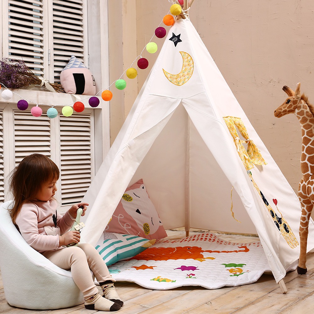 все цены на Five Poles Teepee Cotton Canvas Play Tent for Kids Tipi Embrodery Children Playhouse for Baby Room Girls Boys Gifts