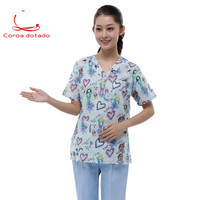 Unisex printed love surgical suit hand washing suit animal hospital uniform