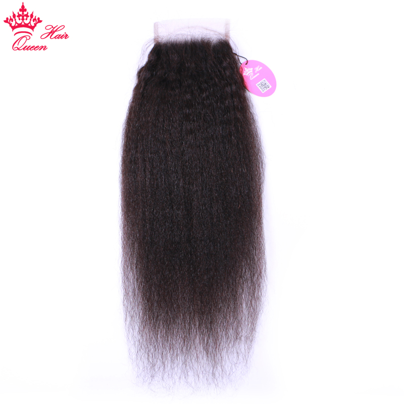 Queen Hair Products 4*4 Brazilian Kinky Straight Lace Closure Virgin Human Hair Free Part Natural Color 1b Free Shipping