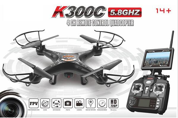 Best Whole sale RC Quadcopter K300 flying drone 2.4G 4CH 4-Axis quadcopter with 5.8G FPV HD aerial drone helicopter yizhan i8h 4axis professiona rc drone wifi fpv hd camera video remote control toys quadcopter helicopter aircraft plane toy