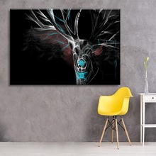 Artistic Dark Reindeer Painting Modern Unique Artwork Wall Home Decorative On Top-Rated Canvas Printing Type 1 Panel Picture