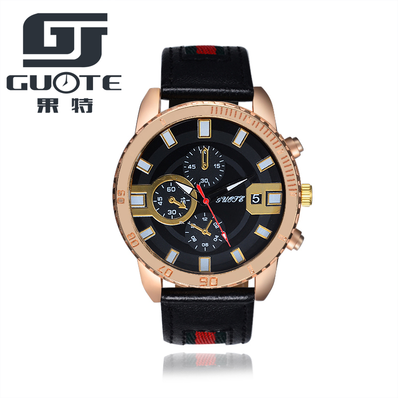 2018 Genuine Guote quartz male watches Genuine Leather watches racing men Students game Run Chronograph Watch male Drop Shipping