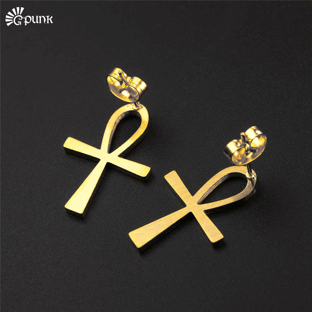 ankh earrings for women jewelry gold color earring girls party accessories key of the nile jewellery E2124G
