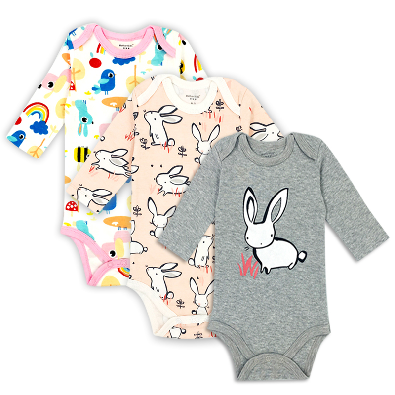 3 pieces/lot 100% Cotton Baby Bodysuit Newborn Cotton Body Baby Long Sleeve Underwear Infant Boys Girls Clothes Babys Sets