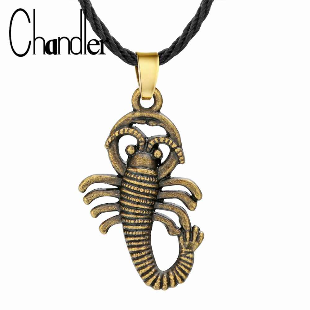 Chandler Scorpion naszyjnik dla mężczyzn Punk Gothic stop brązu antyczne Retro Fahsion biżuteria prezent 40cm sweter mężczyzn Colier